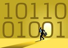 Zakenman en binaire code stock afbeelding
