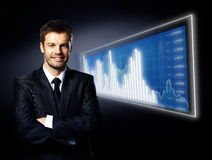Zakenman en blauw diagram Stock Foto