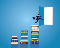 Zakenman en boeken Kennis Bedrijfsonderwijsconcept vector illustratie