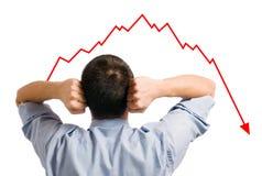 Zakenman en dalend aandeel stock foto's