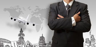 Zakenman en de droomreis rond de wereld Stock Afbeelding
