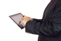 Zakenman en digitale tablet Stock Afbeelding