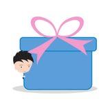 Zakenman en doos, goederen, giftlevering voor het verschepen en de dienst24hrs concept op witte achtergrond wordt geïsoleerd die Royalty-vrije Stock Foto