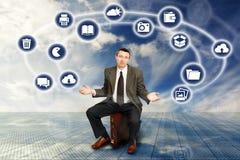 Zakenman en Draadloze Technologie Stock Afbeelding