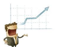 Zakenman en grafiek geïsoleerde financiën Stock Foto