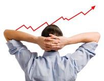 Zakenman en groeiend aandeel Royalty-vrije Stock Afbeelding