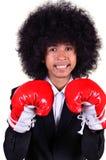Zakenman en hand bokshandschoen klaar te vechten. Stock Foto's