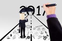 Zakenman en hand van werkgever die goede toekomst maken royalty-vrije stock afbeelding