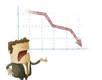 Zakenman en het dalen grafiek over geïsoleerde achtergrond Royalty-vrije Stock Afbeelding