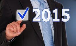 Zakenman en het teken van 2015 Stock Afbeelding