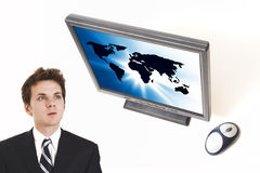 Zakenman en het vlakke scherm stock foto