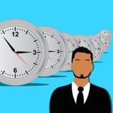 Zakenman en klokken op de achtergrond in vlakke stijl vector illustratie