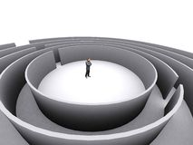 Zakenman en labyrint royalty-vrije illustratie