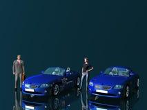 Zakenman en model met auto's. Royalty-vrije Stock Afbeeldingen