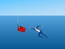 Zakenman en phishing haakcreditcard De dief Hacker steelt uw gegevenscreditcard en geld Gevaarlijke financiënsituatie Stock Foto's