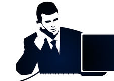 Zakenman en telefoongesprek Stock Foto's