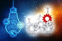 Zakenman en toestelmechanisme, Team Work Concept 3d geef terug royalty-vrije illustratie