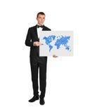 Zakenman en wereldkaart royalty-vrije stock afbeeldingen