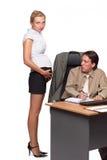 Zakenman en zwangere secretaresse stock afbeelding