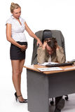 Zakenman en zwangere secretaresse stock foto