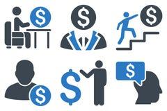 Zakenman Flat Glyph Icons Stock Foto