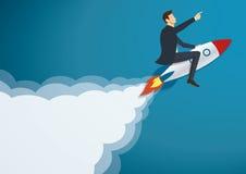 Zakenman Flying met een Raket aan Succesvolle vector Stock Foto's