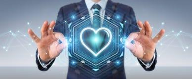 Zakenman gebruiken die toepassing dateren om liefde online 3D te vinden trekt uit Stock Afbeeldingen