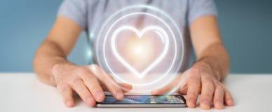Zakenman gebruiken die toepassing dateren om liefde online 3D te vinden trekt uit Stock Foto's