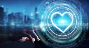 Zakenman gebruiken die toepassing dateren om liefde online 3D te vinden trekt uit Royalty-vrije Stock Afbeelding