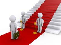 Zakenman geen toegang tot treden met rood tapijt royalty-vrije illustratie
