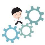 Zakenman gelukkig aan het lopen op toestel, bedrijfsdie het werk concept, in vorm wordt voorgesteld Stock Afbeelding