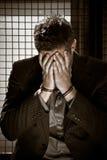 Zakenman in gevangenis Stock Foto's