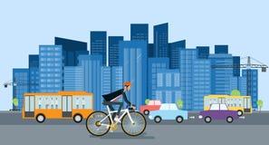 Zakenman het biking gaat werken en energie - besparing vector illustratie