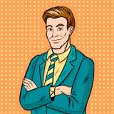 Zakenman het glimlachen pop-arthand getrokken vector vector illustratie