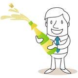 Zakenman het openen fles champagne Stock Afbeeldingen