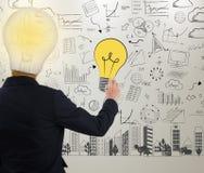 Zakenman het schrijven idee gloeilamp op muur stock afbeelding