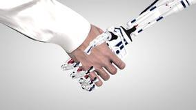 Zakenman het schudden handen met een robot met kunstmatige intelligentie Handdruk met robotwapen De mens communiceert met a stock footage