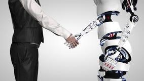 Zakenman het schudden handen met een robot met kunstmatige intelligentie Handdruk met robotwapen De mens communiceert met a stock video