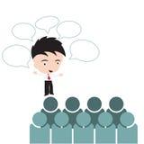 Zakenman het spreken met bel roept voor vergaderingsuitwisseling van ideeën uit met groepsmensen, professioneel Succes veranderd  Royalty-vrije Stock Foto's