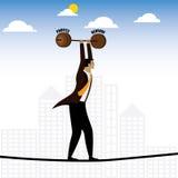 Zakenman of het uitvoerende lopen op strak koord in evenwicht brengende opbrengst stock illustratie