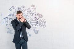 Zakenman het vertellen geheim, businessplan royalty-vrije illustratie