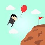 Zakenman het vliegen in lucht gaat naar succes Stock Afbeelding