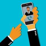 Zakenman het vragen van celtelefoon, handen, vector, vlakke stijl Web Royalty-vrije Stock Afbeeldingen