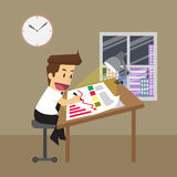 Zakenman het werk overwerk, planning Royalty-vrije Stock Afbeelding