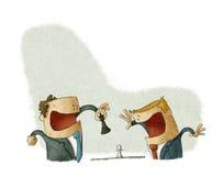 Zakenman het winnen in schaakspel stock illustratie