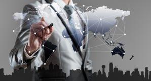 Zakenman het woking met globalisering marketing concept vector illustratie