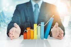 Zakenman huidige het toenemen grafiek, de bedrijfsgroei royalty-vrije stock fotografie
