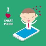 Zakenman I liefdesmartphone met gelukkig ogenblik Stock Foto's