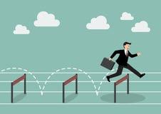 Zakenman Jumping Over Hurdle Royalty-vrije Stock Afbeeldingen