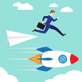 Zakenman Jumping To Rocket vector illustratie